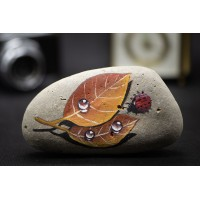Hand-Painted Cobblestone Painting Stone Creative Stone - Maple Leaves and Beetle